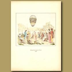 Hot air balloon sent up from Tivoli Gardens in Paris in 1800