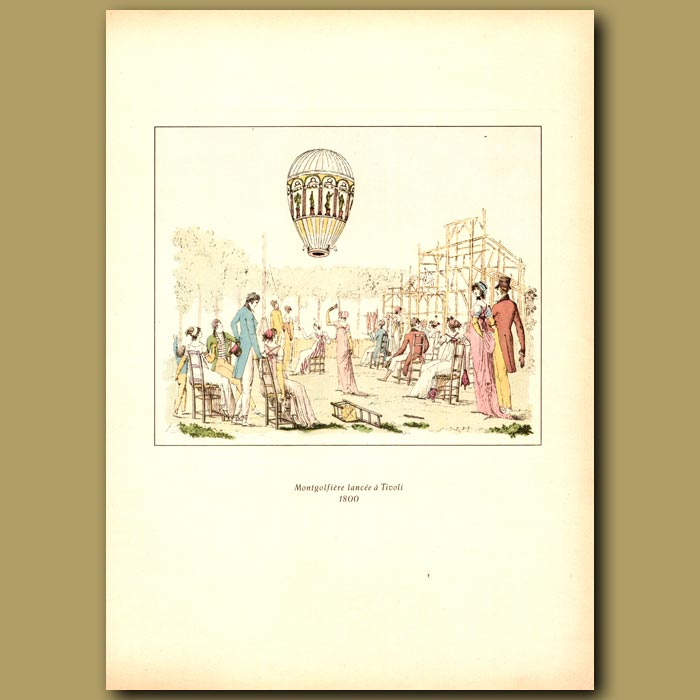Antique print. Hot air balloon sent up from Tivoli Gardens in Paris in 1800