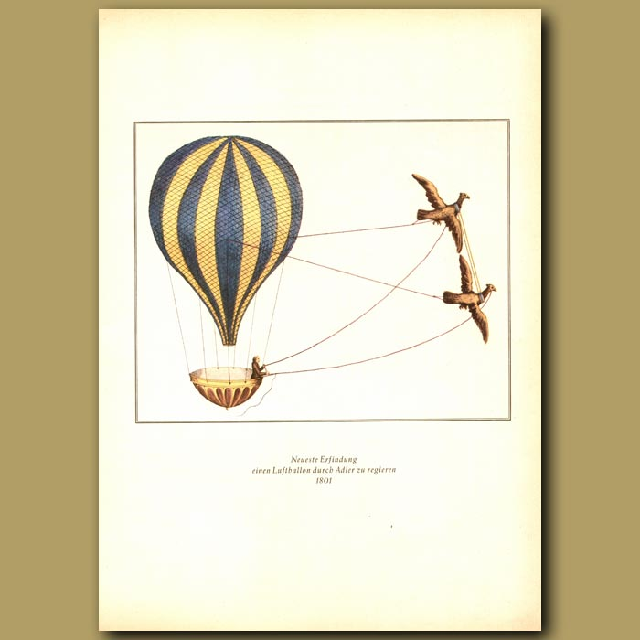 Antique print. A balloon pulled by eagles in 1801