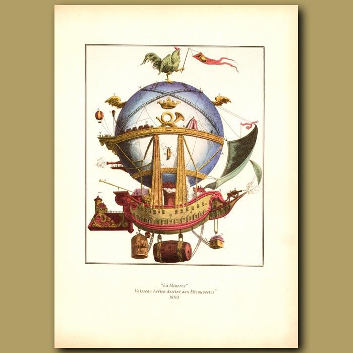 Antique print. La Minerve Vaisseau Aerien destinemaux decouvertes, 1803