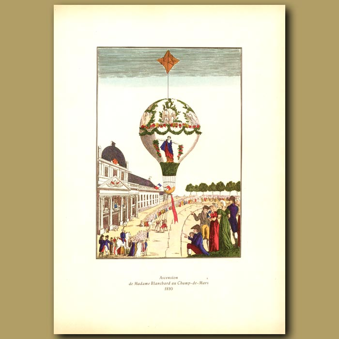 Antique print. The balloon ascent of Madame Blanchard in 1810