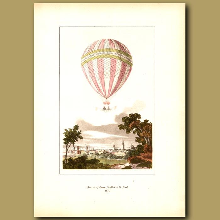 Antique print. Ascent of James Sadler at Oxford in 1810