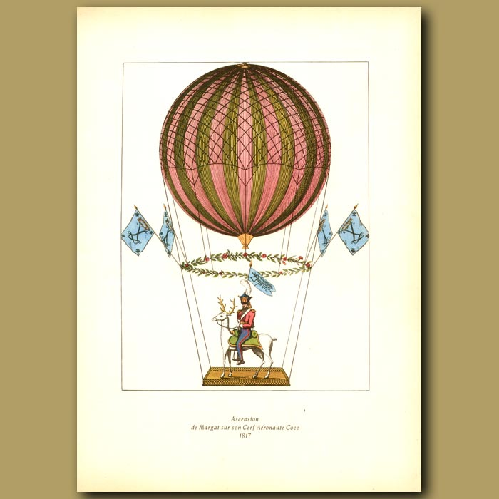 Antique print. Margat ascending on his stag in 1817