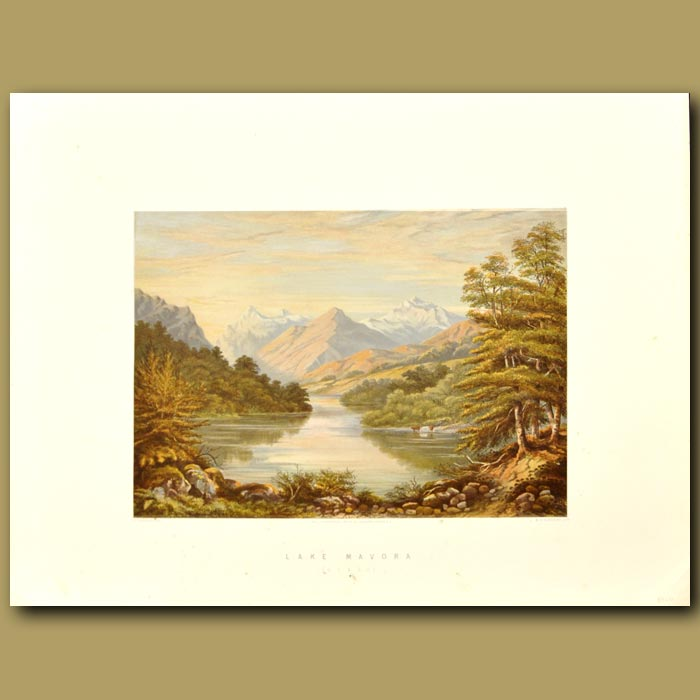 Antique print. Lake Mavora