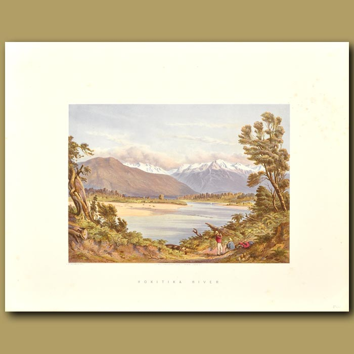 Antique print. Hokitika River