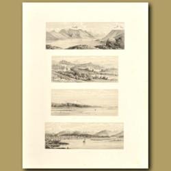 South Island scenery: Hokitika River, Mount Cook from Hokitika, Cheviot Hills Station and Lake Coler