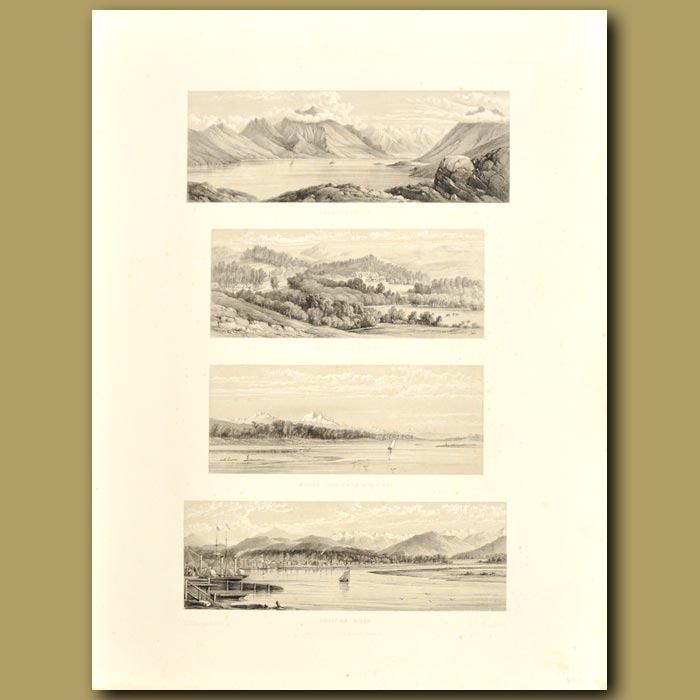Antique print. South Island scenery: Hokitika River, Mount Cook from Hokitika, Cheviot Hills Station and Lake Coler