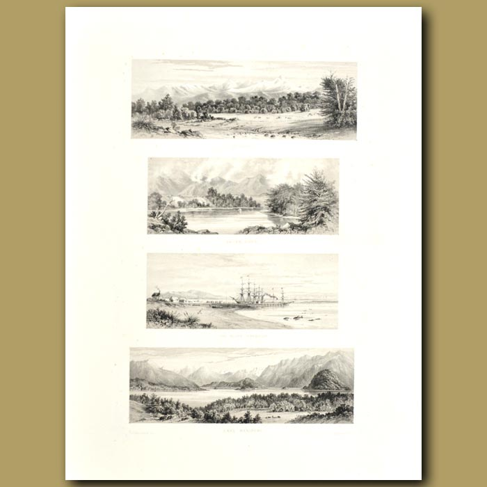Antique print. South Island scenery: The Bluff Harbour, Lake Manipori, Te Anan and Wai-An River