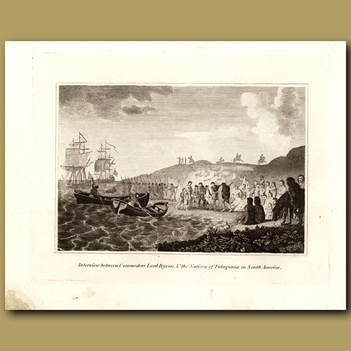 Antique print. Interview Between Commodore Lord Byron And The Natives Of Patagonia In South America