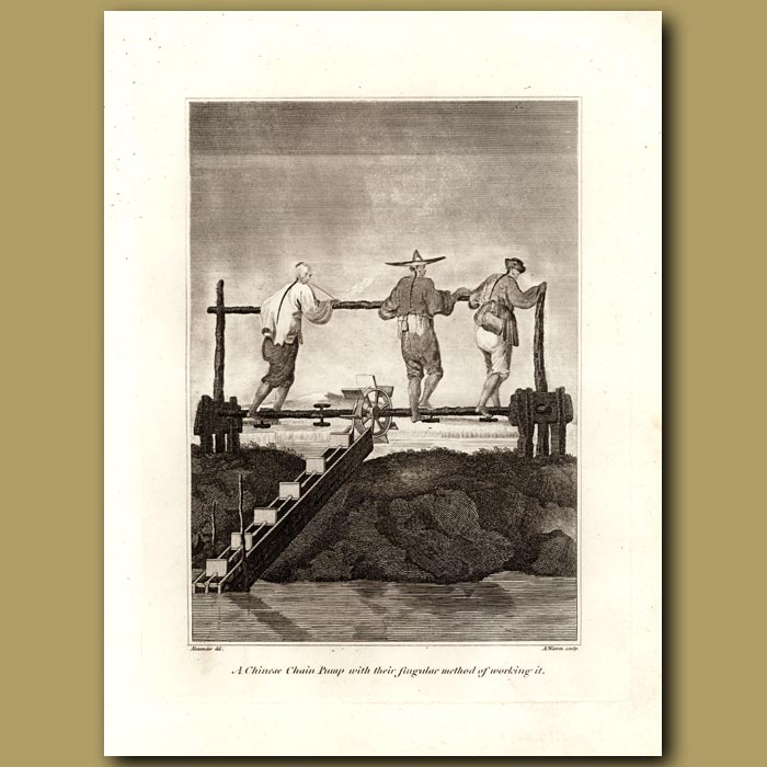 Antique print. A Chinese Chain Pump With Their Singular Method Of Working It