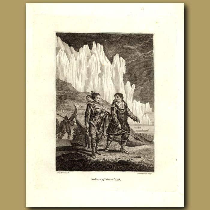 Antique print. Natives Of Greenland