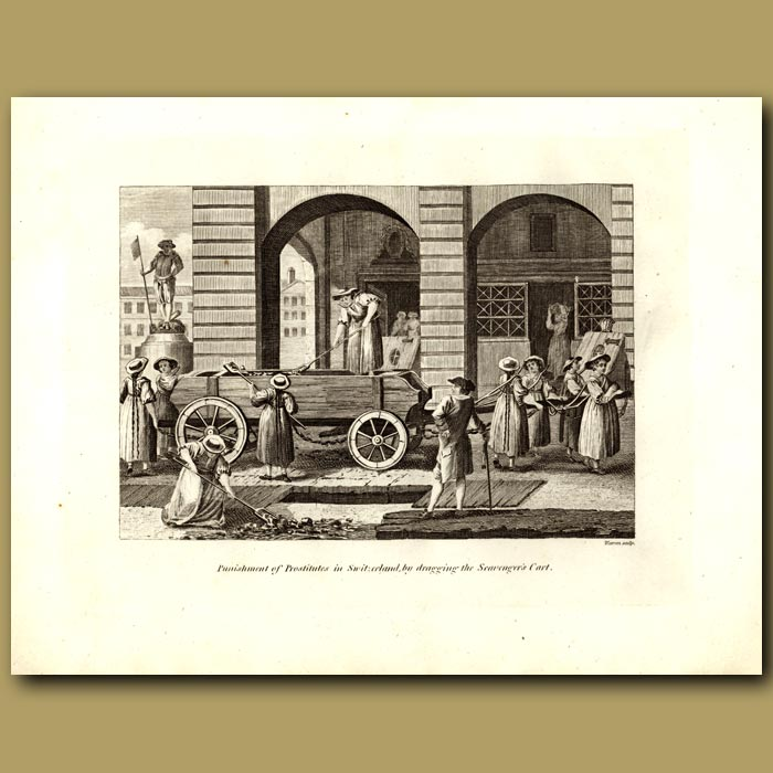 Antique print. Punishment Of Prostitutes In Switzerland By Dragging The Scavenger's Cart