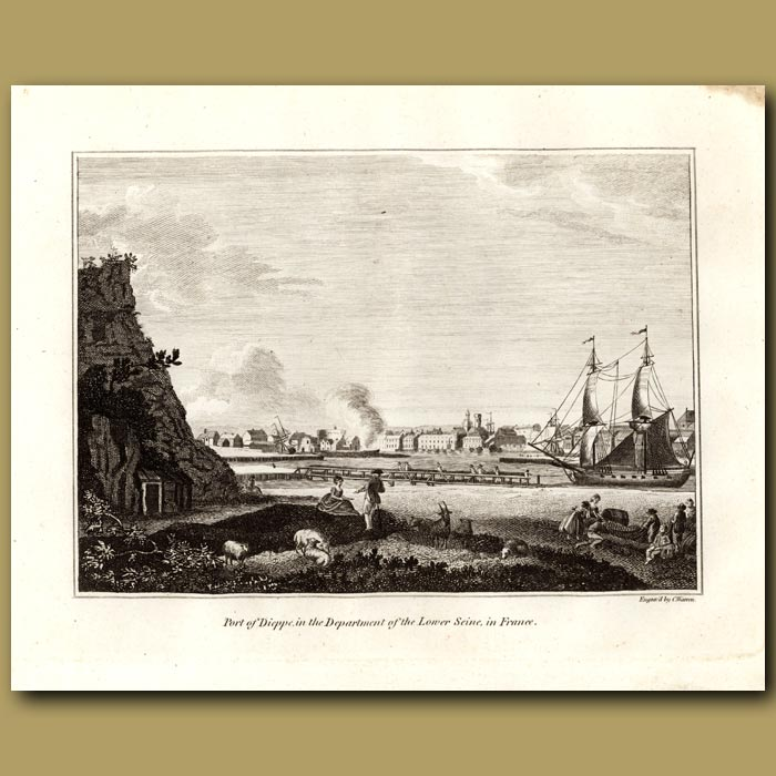 Antique print. Port Of Dieppe In The Department Of The Lower Seine In France