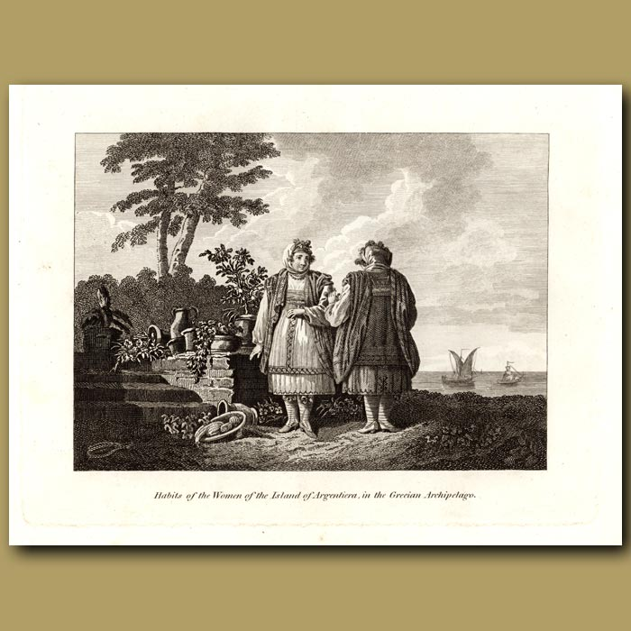 Antique print. Habits Of The Women Of The Island Of Argentiera In The Grecian Archipelago