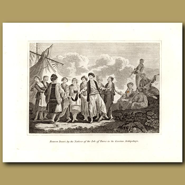 Antique print. Romeca Dance, By The Natives Of The Isle Of Paros In The Grecian Archipelago