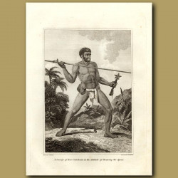 A Savage Of New Caledonia In The Attitude Of Throwing A Spear