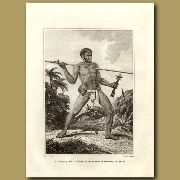 Antique print. A Savage Of New Caledonia In The Attitude Of Throwing A Spear
