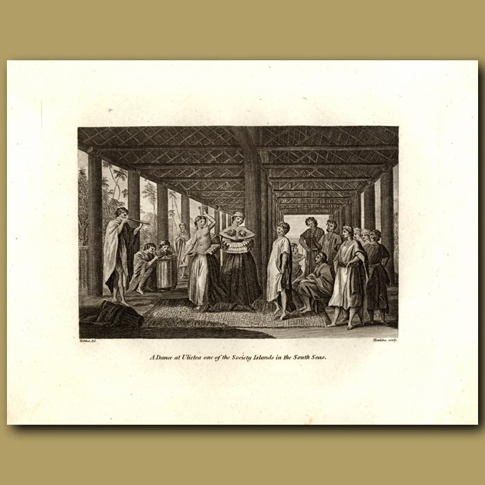 Antique print. A Dance At Ulietea On The Society Islands In The South Seas