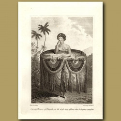 A Young Woman Of Otaheite (Tahiti) In The Dress They Assume When Bringing A Present