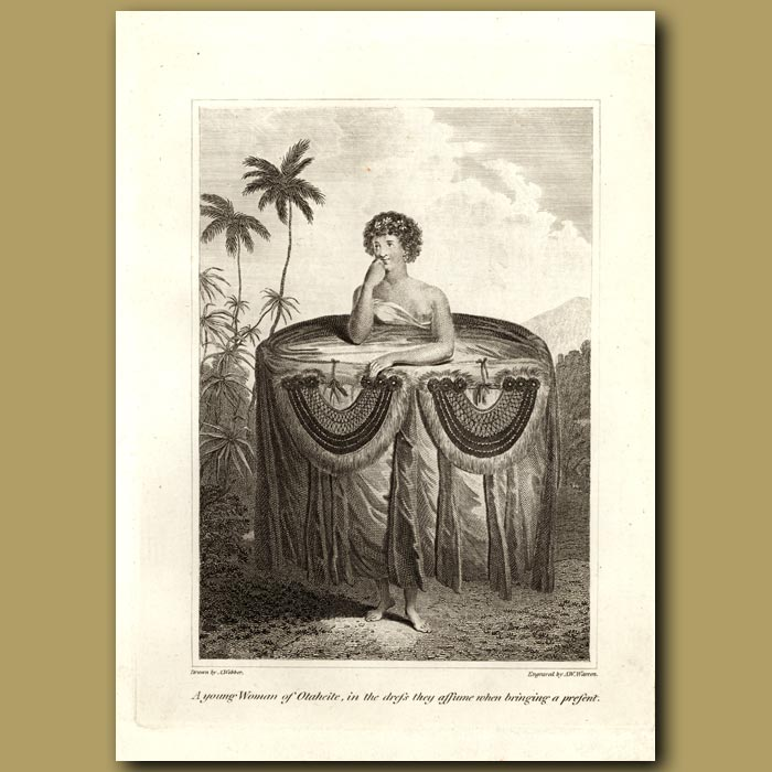 Antique print. A Young Woman Of Otaheite (Tahiti) In The Dress They Assume When Bringing A Present