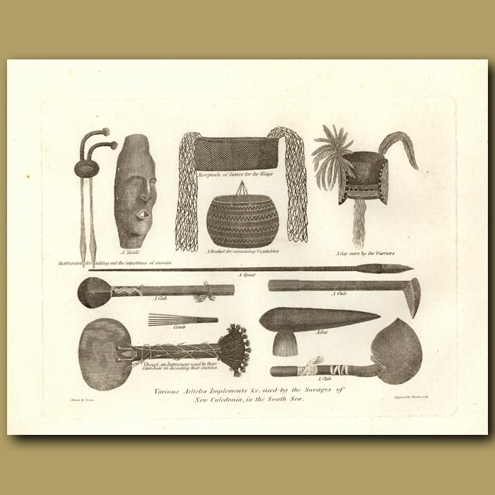 Antique print. Various Articles Implements And Used By The Savages Of New Caledonia In The South Sea