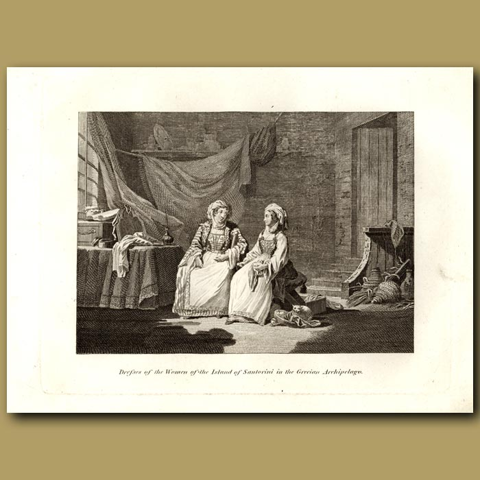 Antique print. Dresses Of The Women Of The Island Of Santorini In The Grecian Archipelago