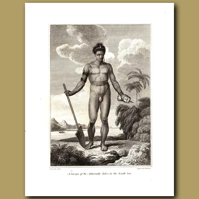 Antique print. A Savage Of The Admiralty Isles In The South Sea (part Of Papua New Guinea)