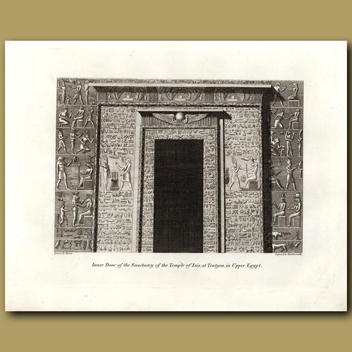 Antique print. Inner Door Of The Sanctuary Of The Temple Of Isis At Tentyra In Upper Egypt