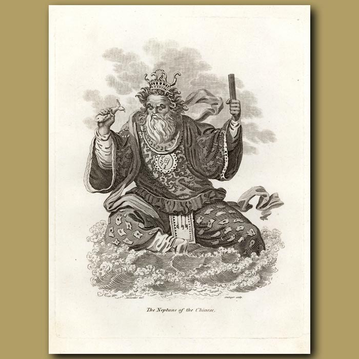 Antique print. Chinese God: The Neptune Of The Chinese