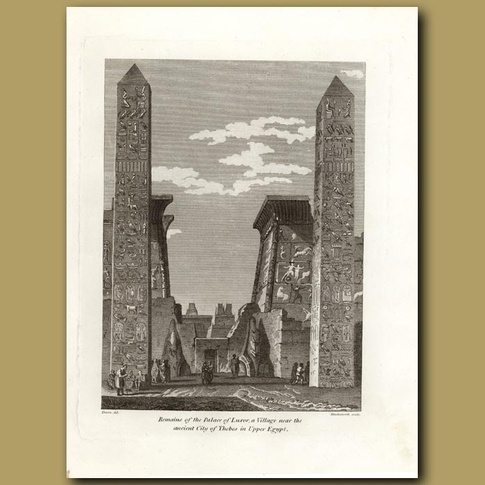 Antique print. Remains Of The Palace Of Luxor,  A Village Near The Ancient Cit Of Thebes In Upper Egypt