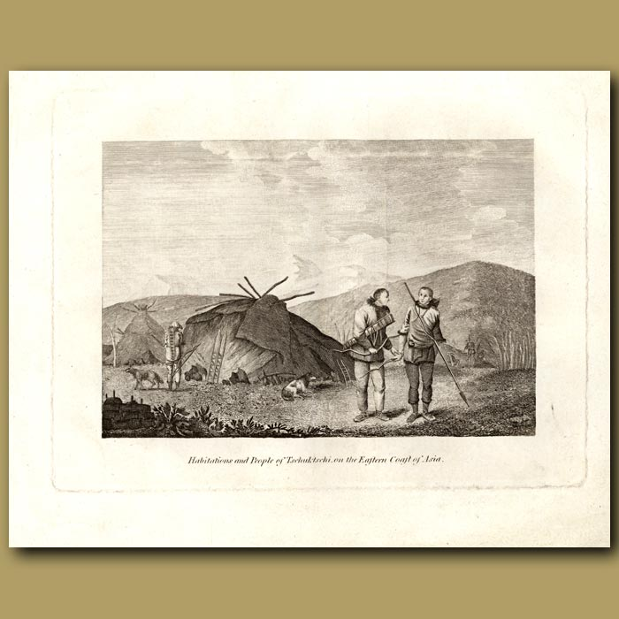 Antique print. Habitations And People Of Tschuktschi On The Eastern Coast Of Asia