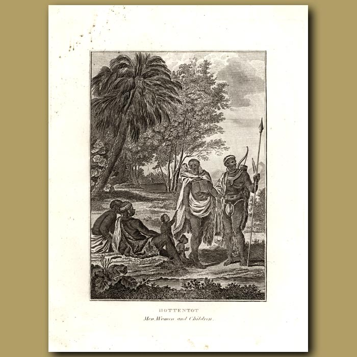 Antique print. Hottentot Men, Women And Children In South Africa