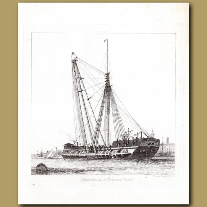 Antique print. Sheer Hulk at Portsmouth Harbour