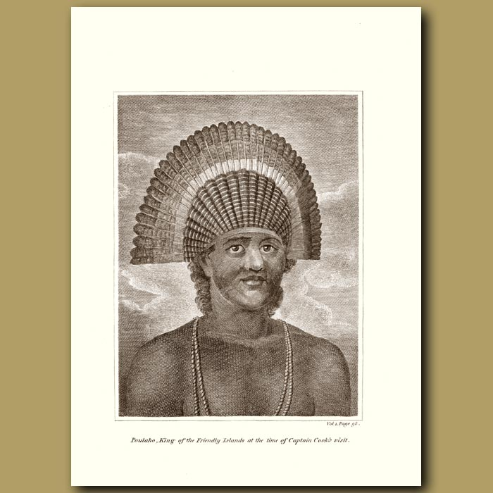 Antique print. Poulaho, King Of Friendly Isles At Time Of Captain Cook's Visit (Tonga)