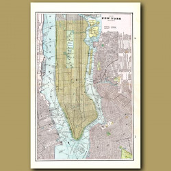 Map Of New York (double Size) With Maps Of Brooklyn And Boston On The Back