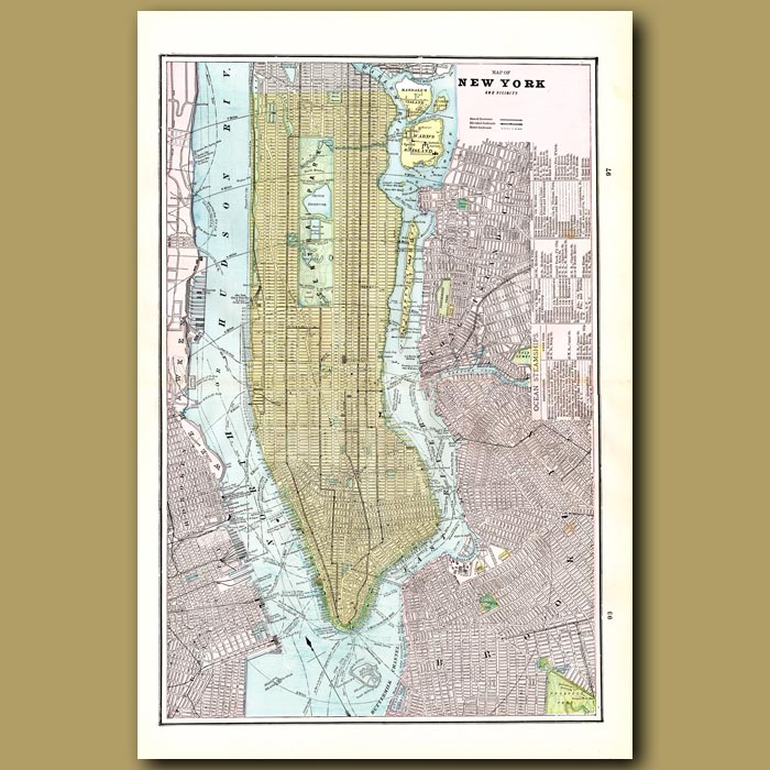 Antique print. Map of New York (double size) with maps of Brooklyn and Boston on the back
