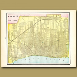 Map Of Detroit (with Map Of Toledo On The Back)