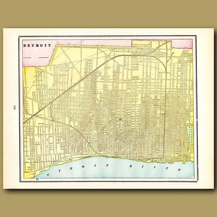Antique print. Map of Detroit (with map of Toledo on the back)