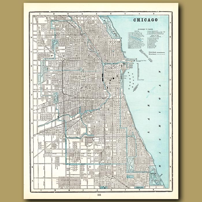 Antique print. Map of Chicago (with map of Milwaukee and Bayview, Wis. on the back)