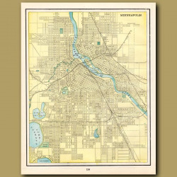 Map Of Minneapolis (with Map Of St. Paul On The Back)