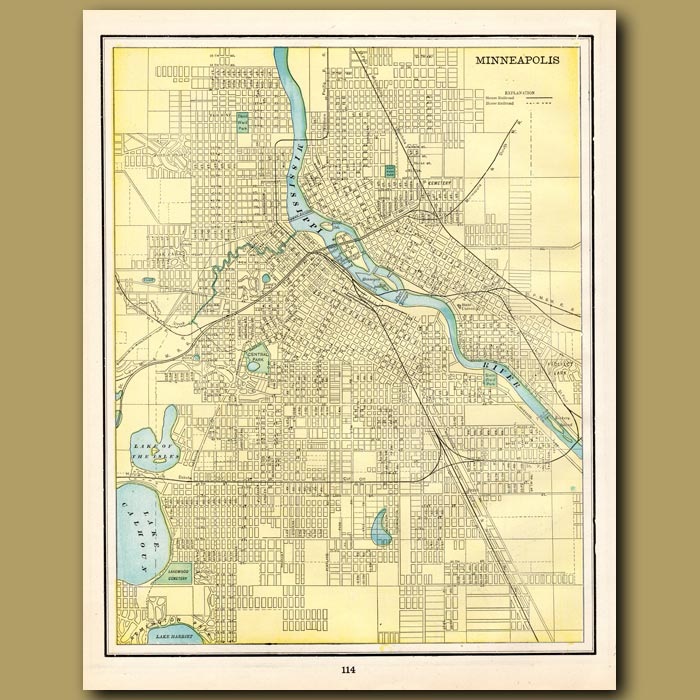 Antique print. Map of Minneapolis (with map of St. Paul on the back)