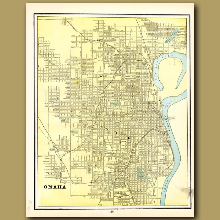 Antique print. Map of Omaha (with map of Council Bluffs on the back)