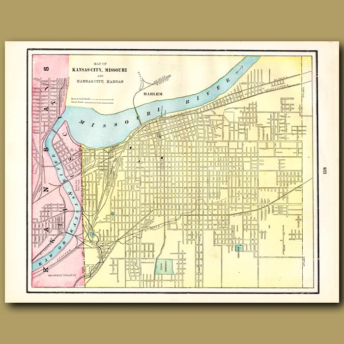 Antique print. Map of Kansas City, Missouri (with map of St. Louis on the back)