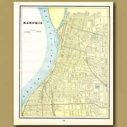 Map Of Memphis (with Map Of Nashville On The Back)