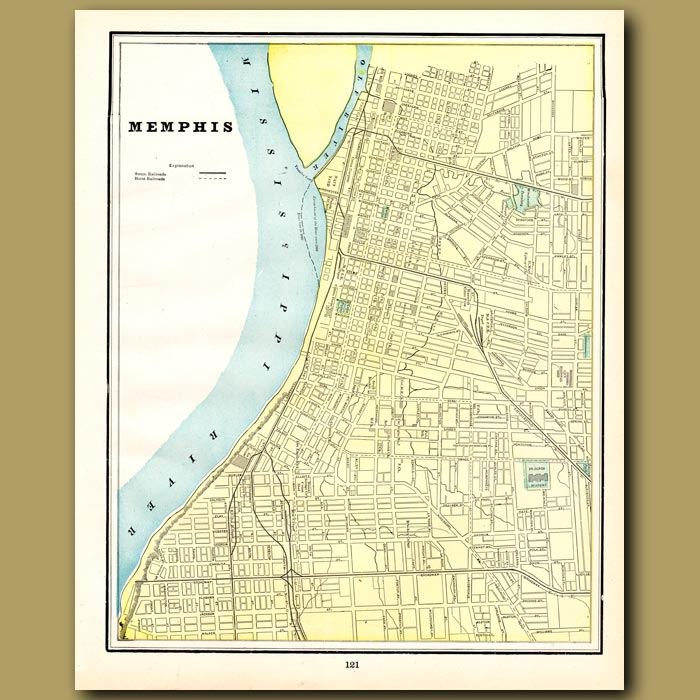 Antique print. Map of Memphis (with map of Nashville on the back)