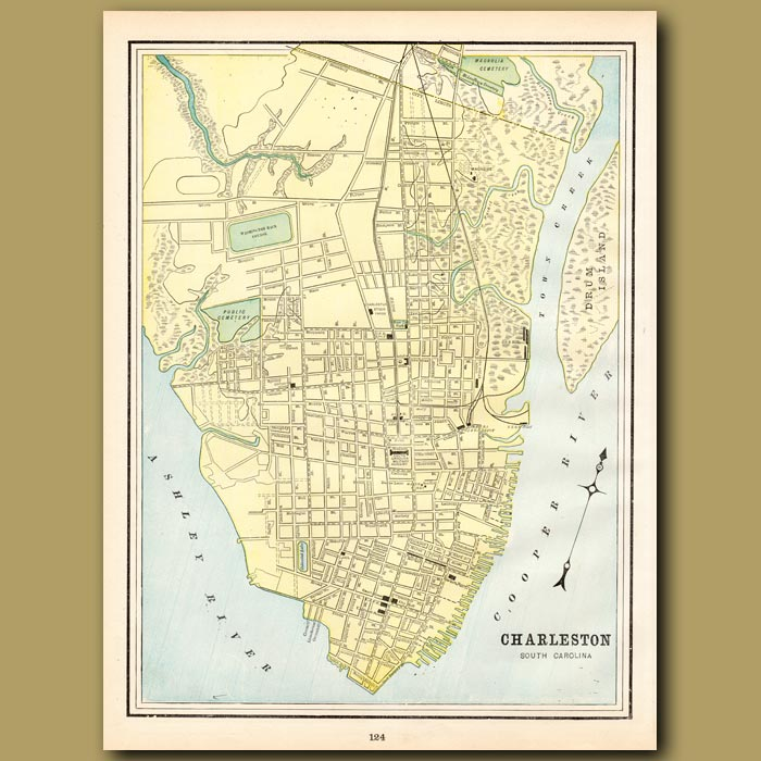 Antique print. Map of Charleston, South Carolina (with map of Birmingham on the back)