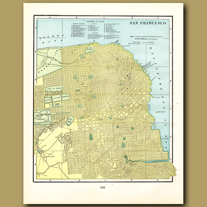 Antique print. Map of San Francisco (with map of Denver on the back)