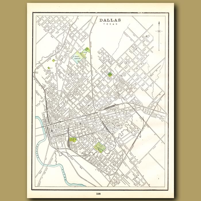 Antique print. Map of Dallas (with map of Buffalo on the back)