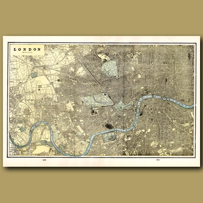 Antique print. Map of London (double size) with maps of Liverpool and Brussels on the back