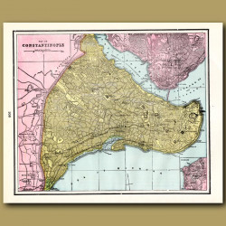 Map Of Constantinople (with Map Of Naples On The Back)